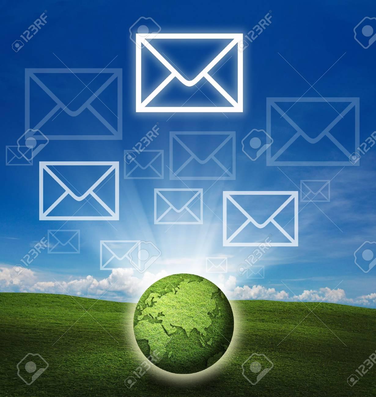 communication idea over attractive background. Stock Photo - 10213387