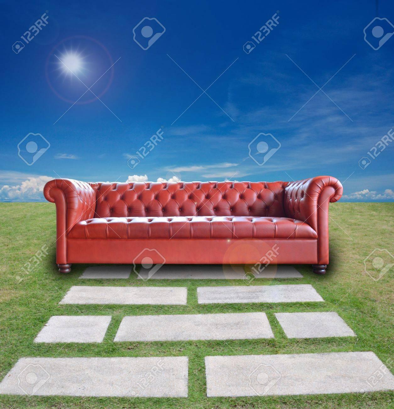 single vintage style sofa on nature background. Stock Photo - 10681039