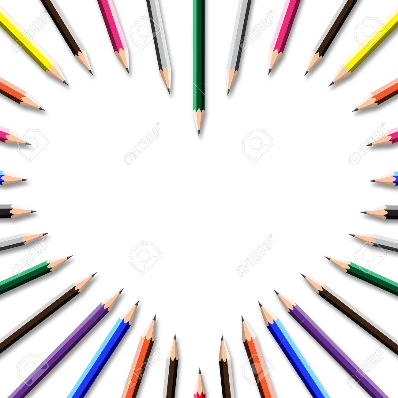 color pencil frame in heart shape on white background. Stock Photo - 11676453