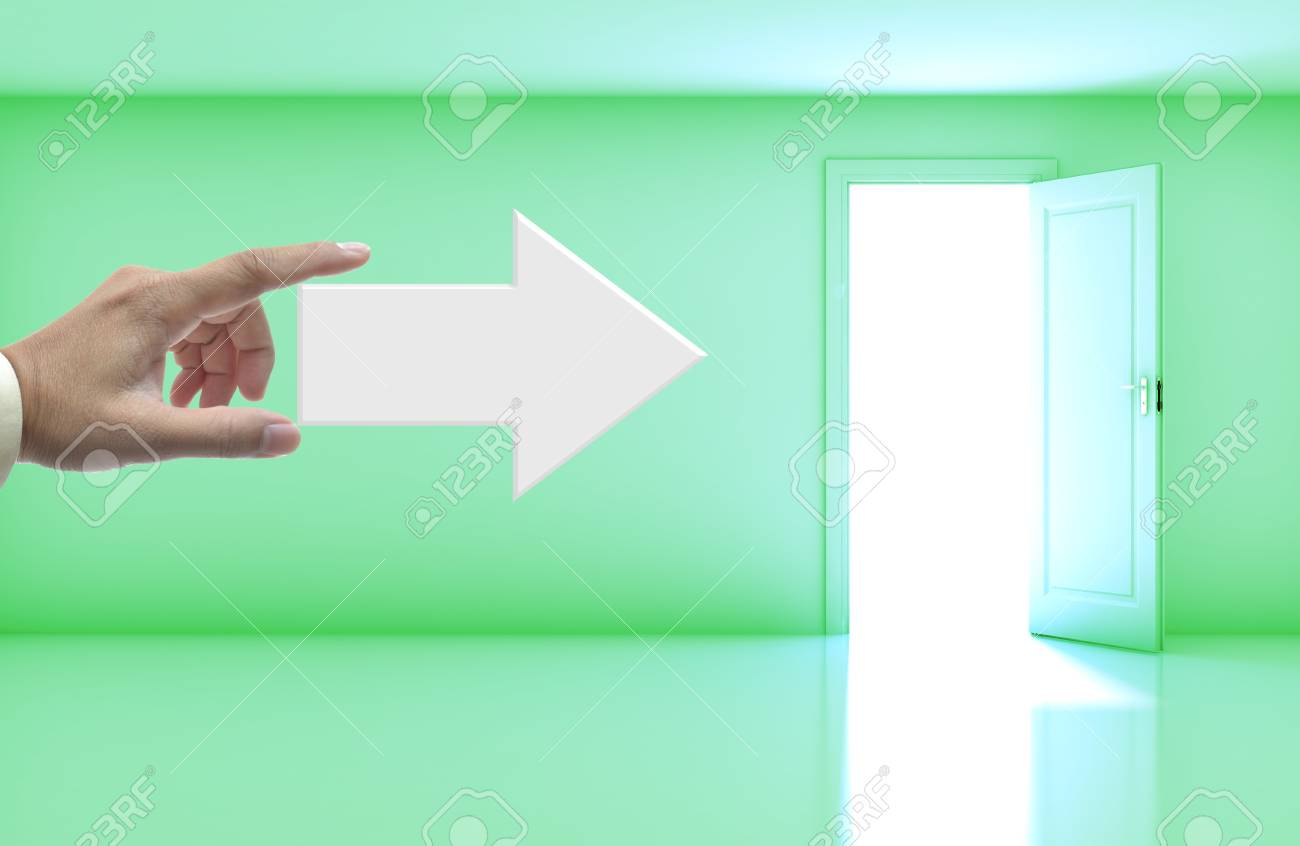 Business concept with wording on right arrow in blank room with open door. Stock Photo - 13623633