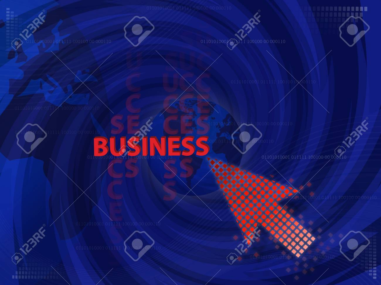 Art work of business Idea with touching virtual screen by red arrow graphic with modern spiral blue background. Stock Photo - 14042915