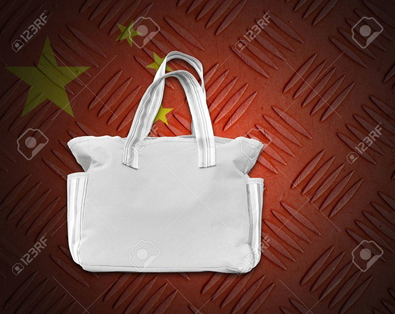 Environment concept from white cloth bag on background. Stock Photo - 15273298