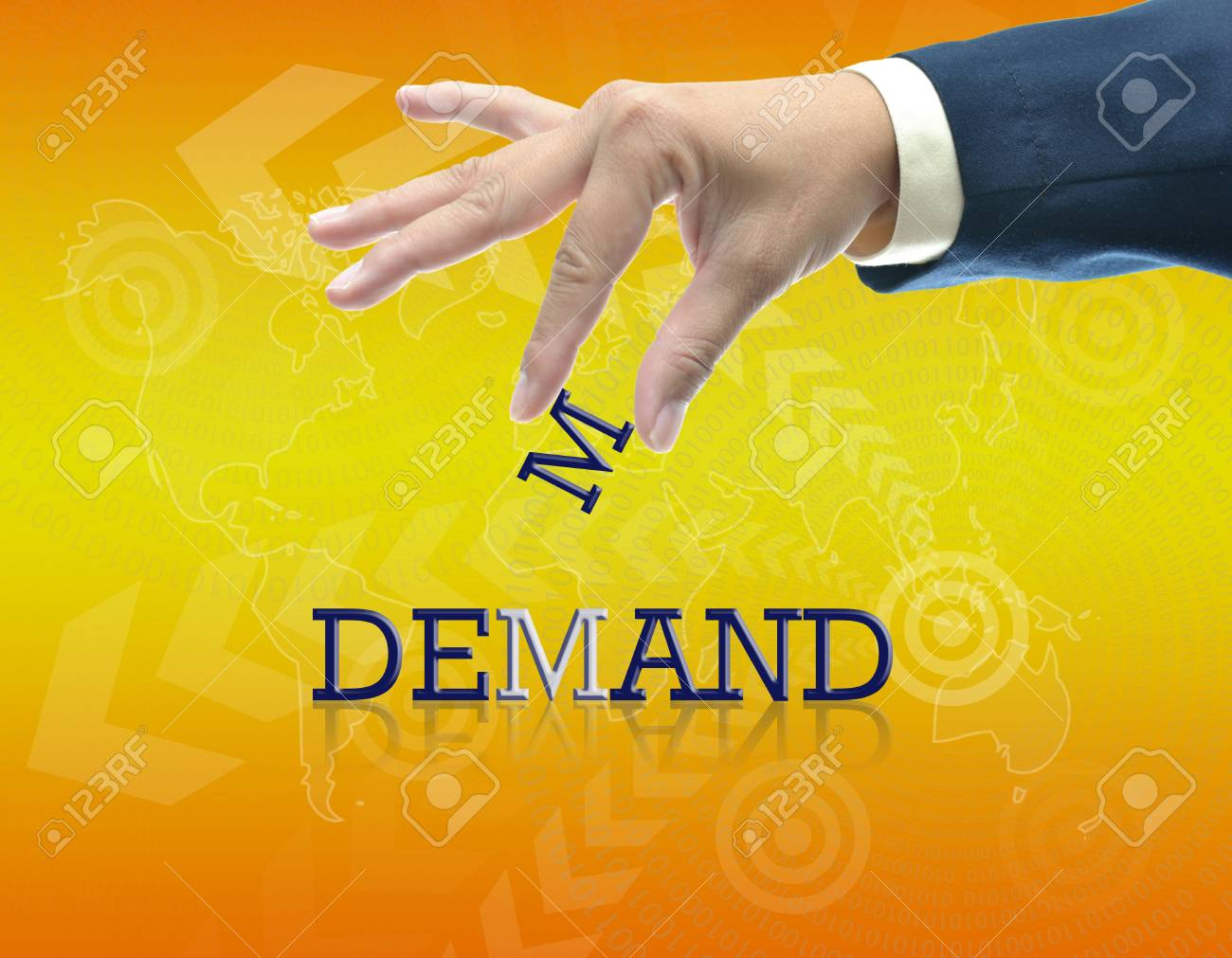 art work of business hand with the word. Stock Photo - 16290097