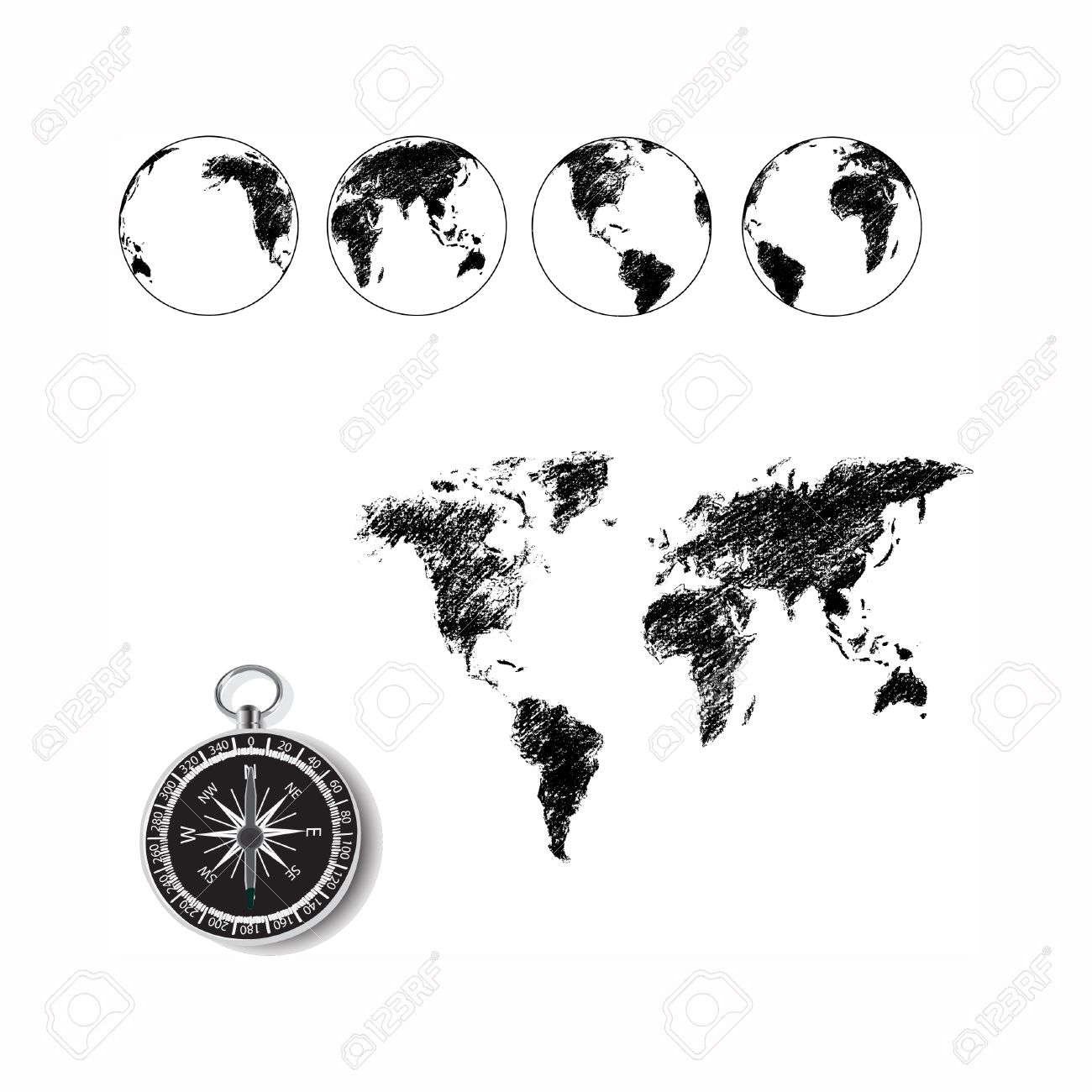 World map globe drawing with old fashion compass stock photo stock photo world map globe drawing with old fashion compass gumiabroncs Images