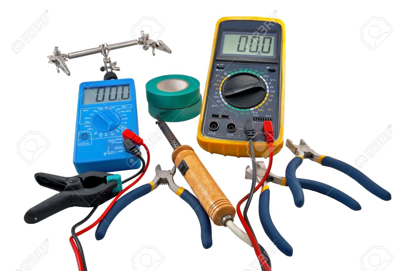Tools For Home Electrical Repair Stock Photo