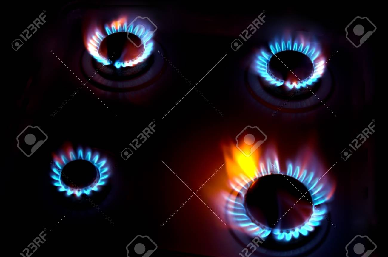 burning on a gas stove in the kitchen Stock Photo - 18196084