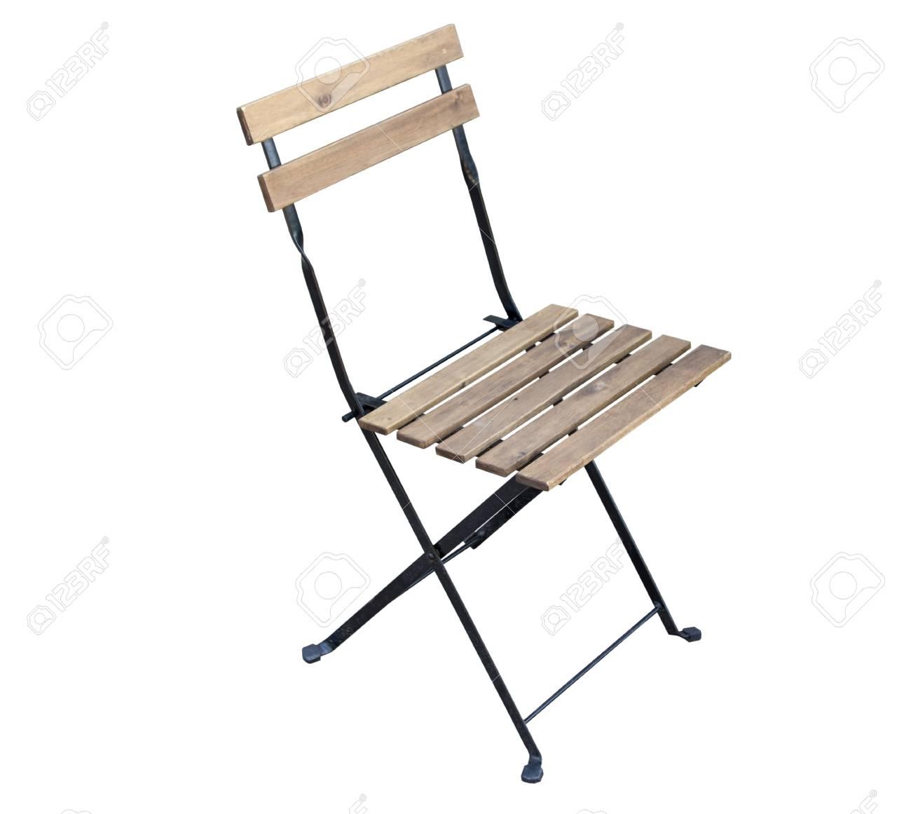 Entzückend Metall Stuhl Galerie Von Holz Und Isoliert Auf Weißem Hintergrund Standard-bild