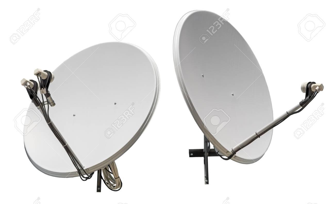 antenne parabolique antennes isolés sur fond blanc banque d'images