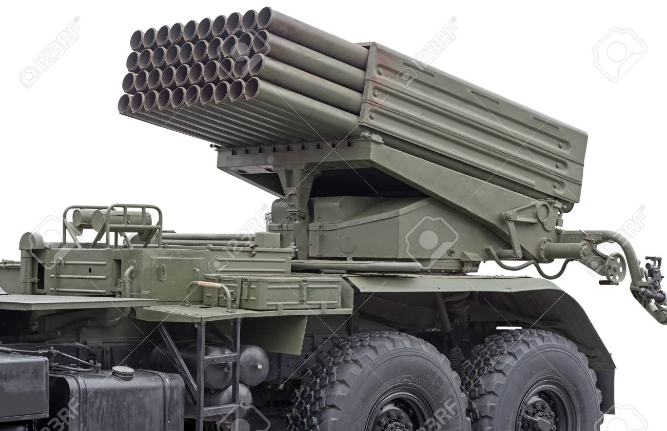 Russian multiple rocket launcher mounted on soviet military truck