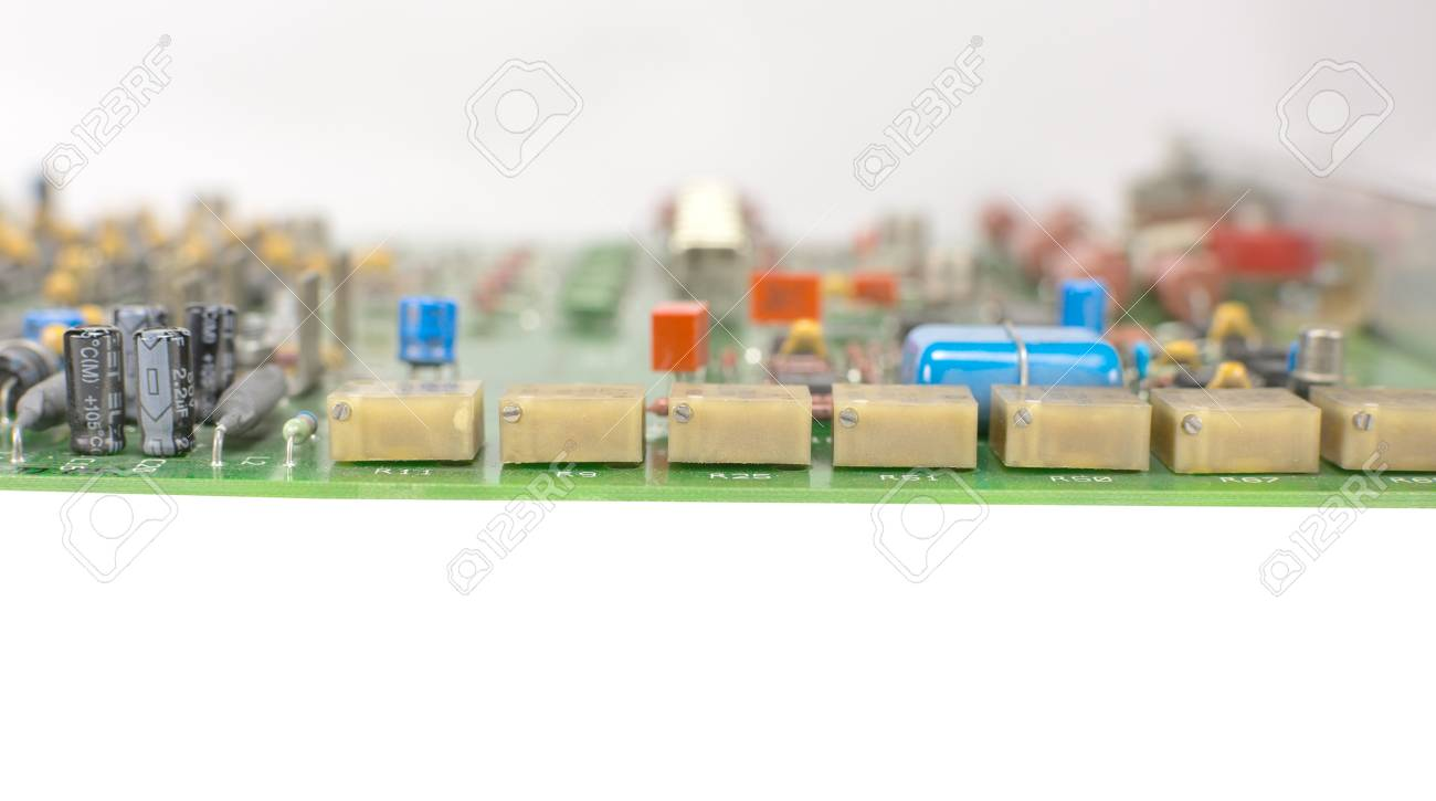 Electronic Circuit Board With Processor On A White Background Stock Keyboard Diagram Photo 106287058