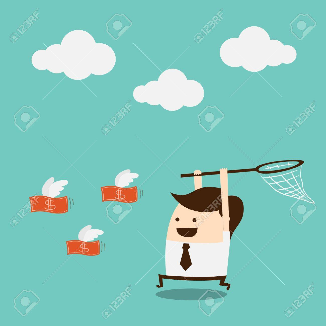businessman trying to catch money Stock Vector - 17805079