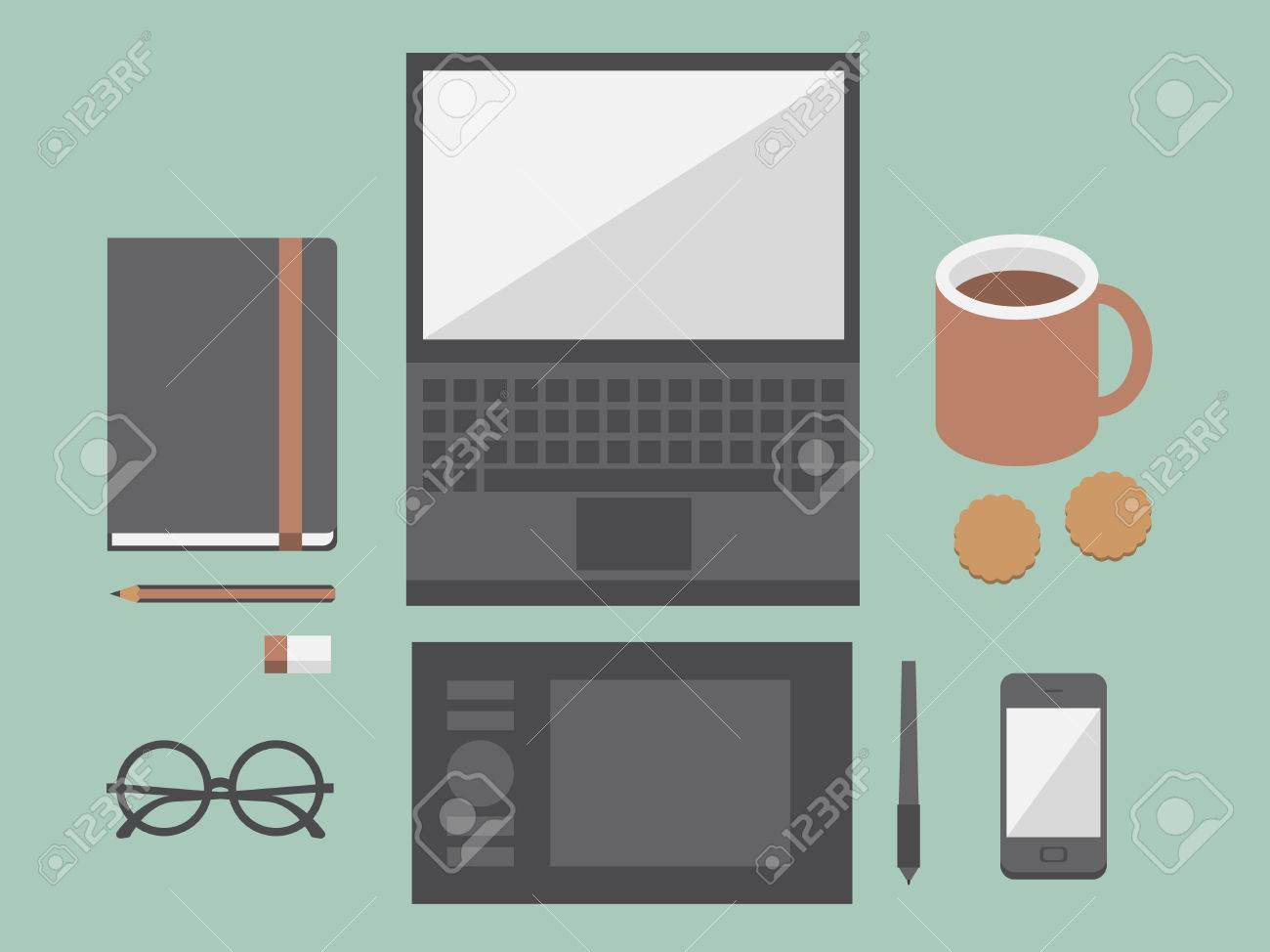 Workplace with mobile devices and documents illustration - 26068939