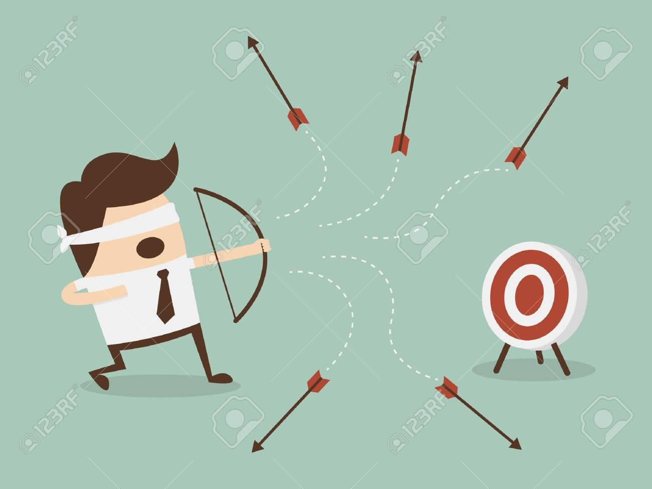 Blindfold businessman shooting arrow - 26631086