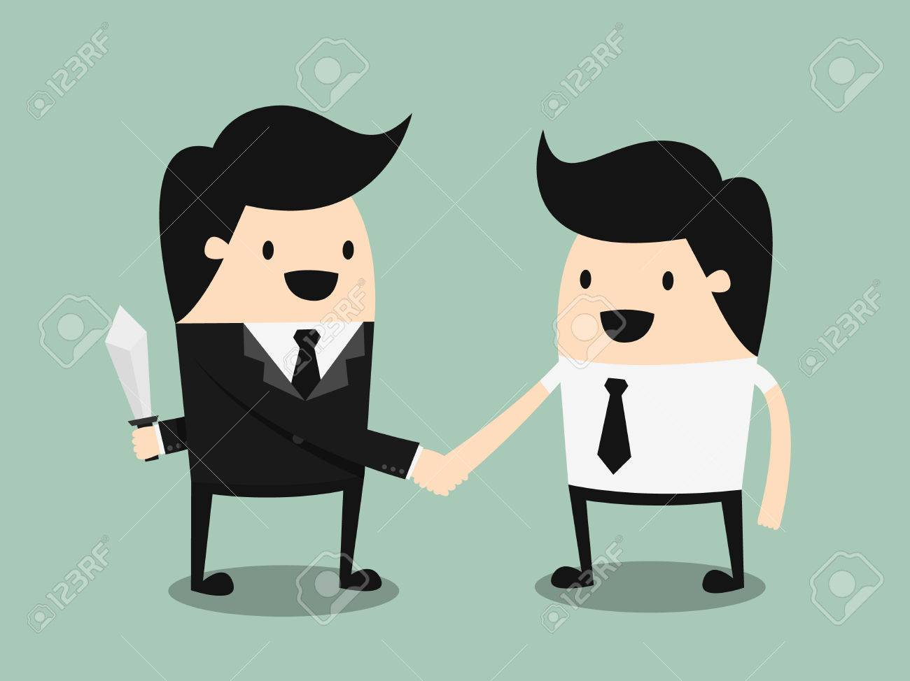 business partners handshaking while another people holding knife behind his back - 26631092