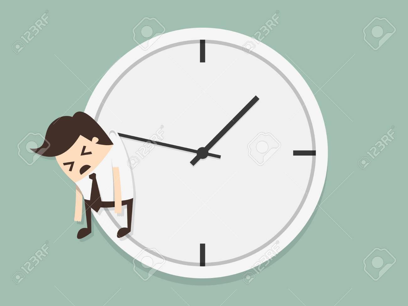 Businessman hangs on an arrow of clock - 26631095