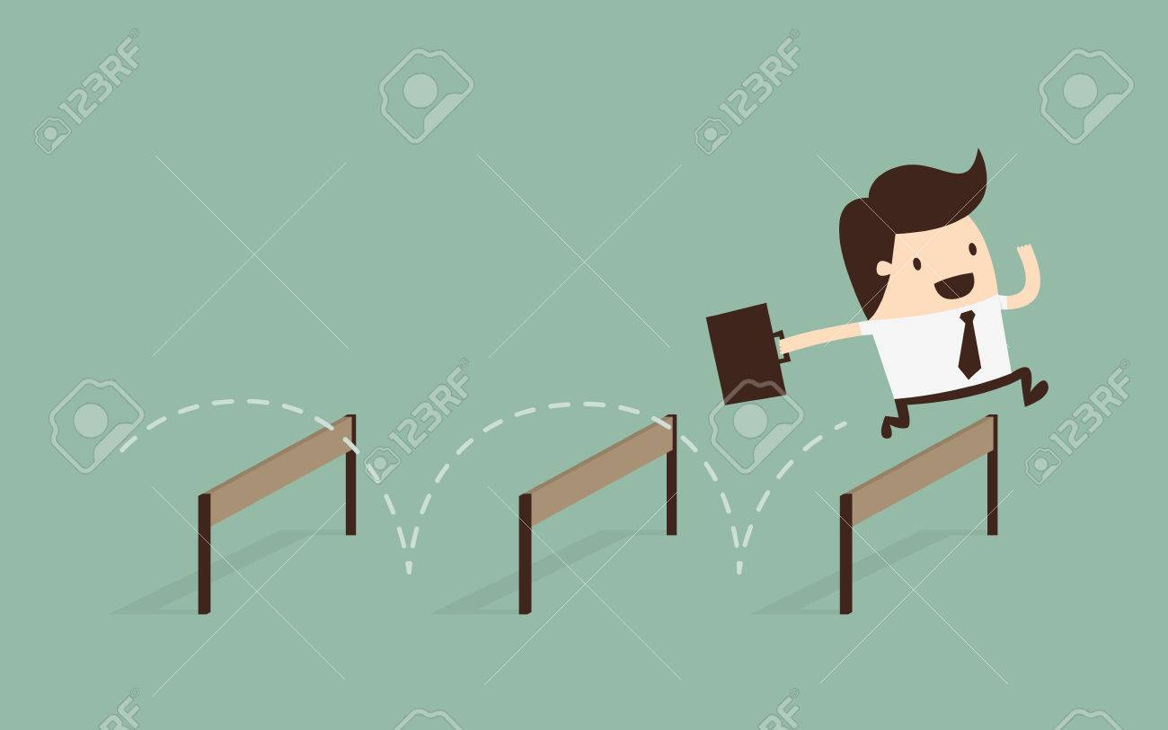 Businessman Jumping Over Hurdle - 29382124