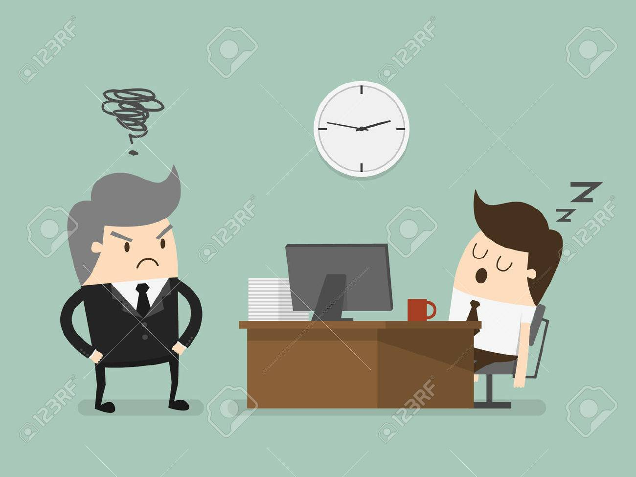 Exhausted businessman falling asleep at his office desk - 29090163