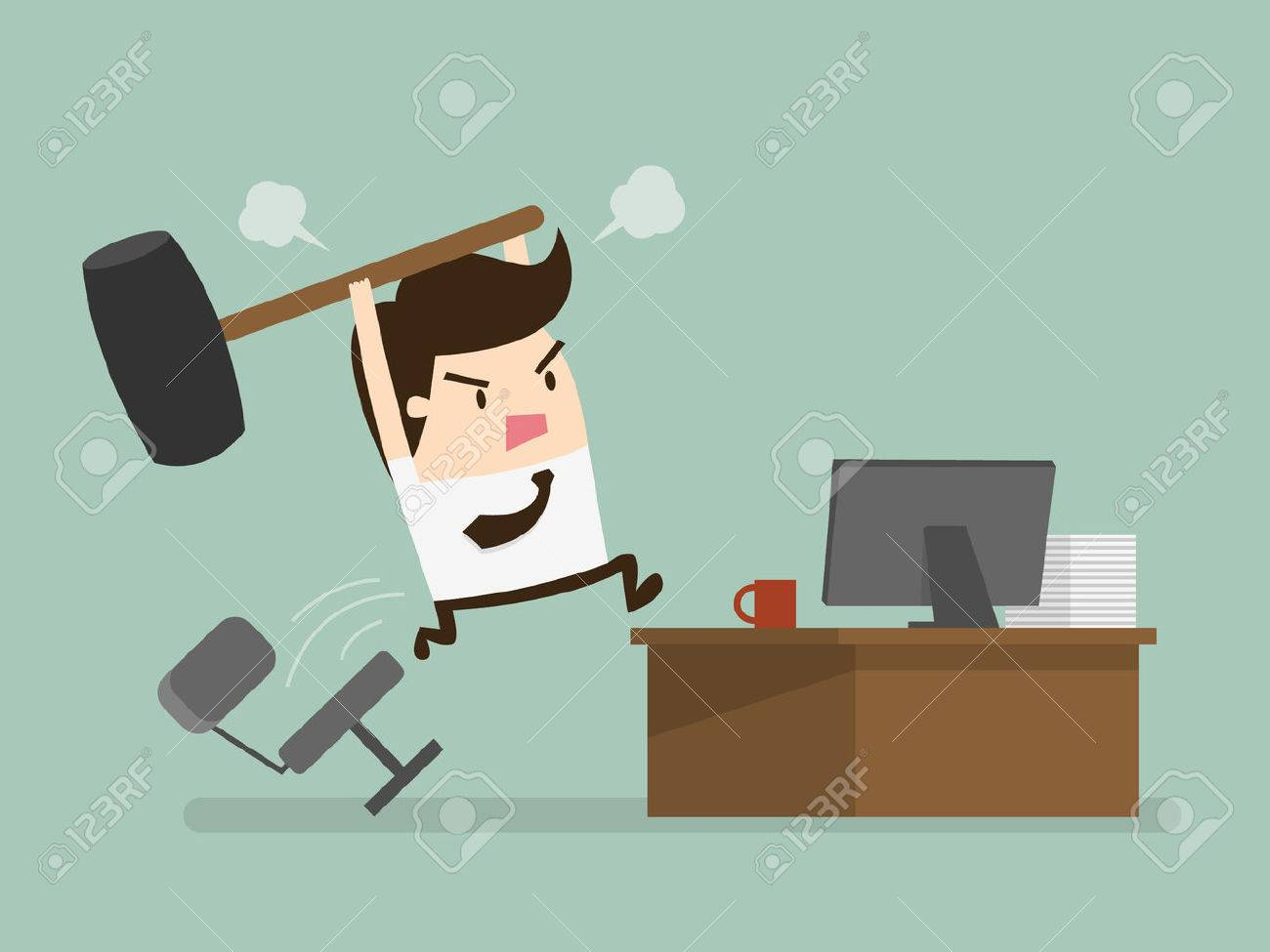Furious frustated businessman hitting the computer - 52631291