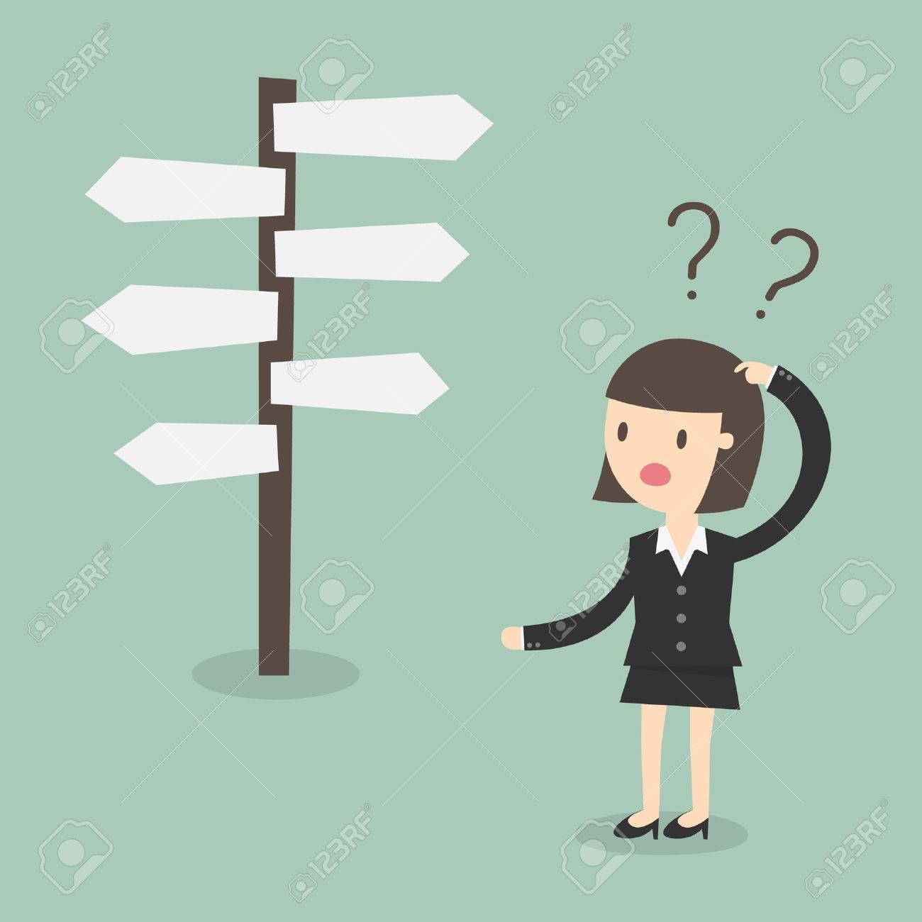 Confused, Business woman in front of a choice - 53139170