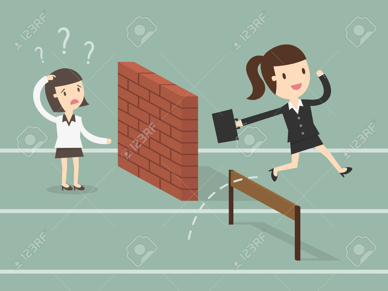 Concept of business competition with jumping businessman - 53139131