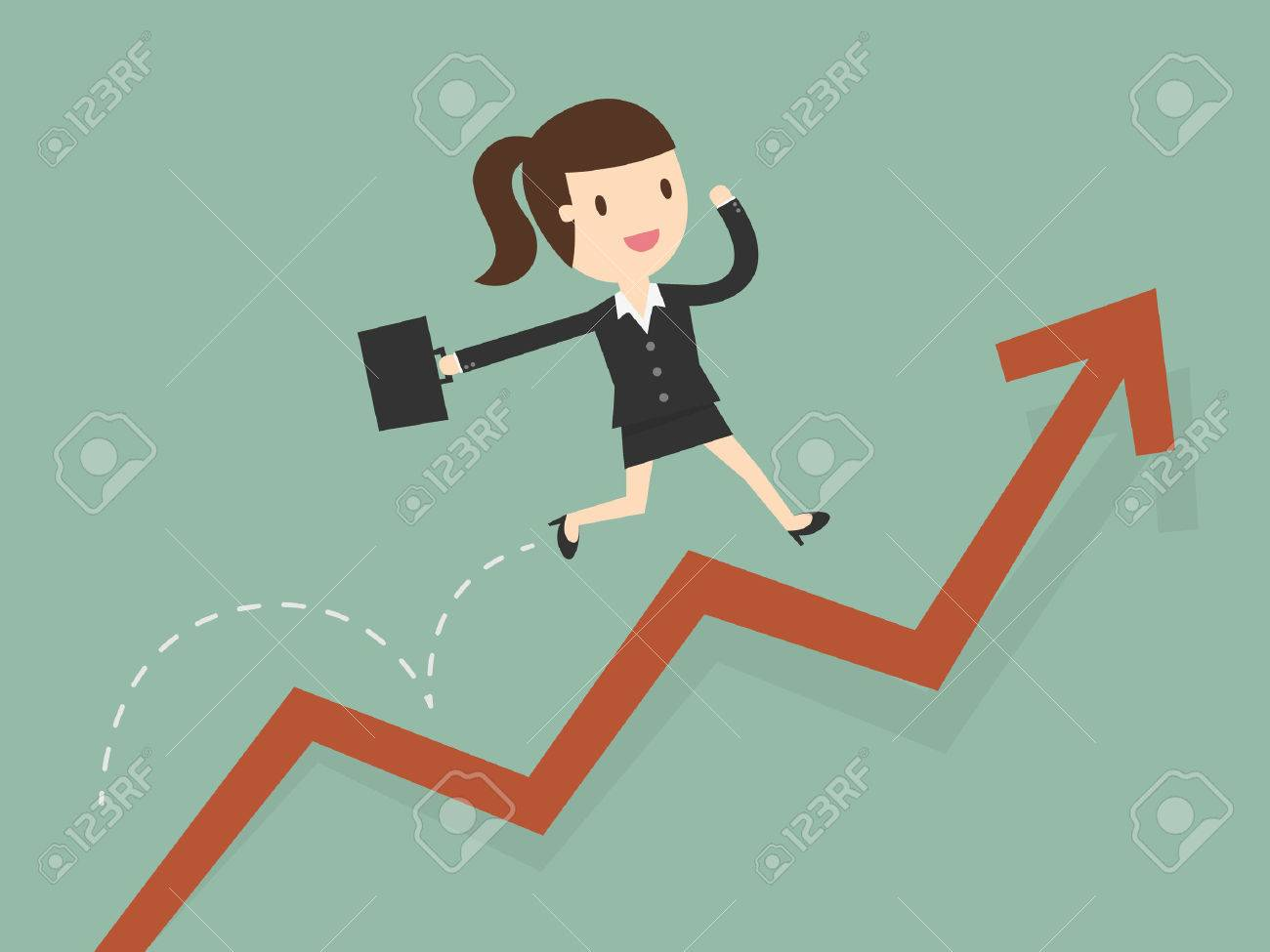 business woman jump over growing chart - 53139138