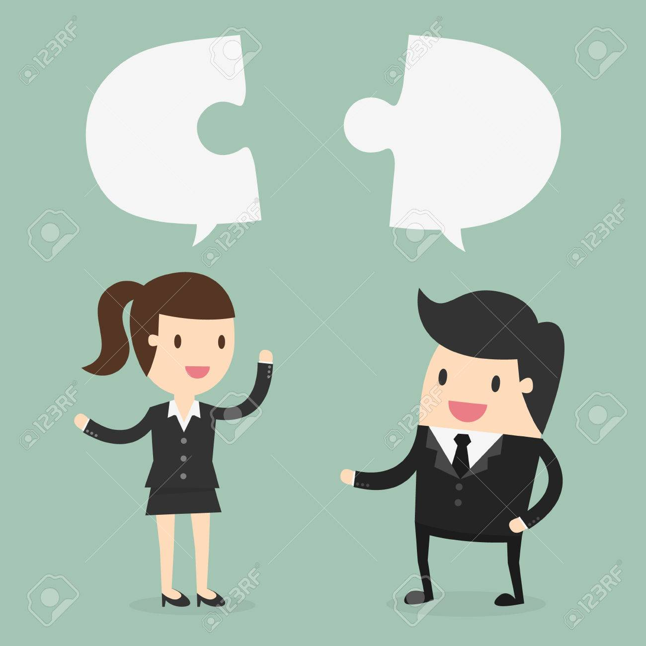 businessman and Business woman discuss their work - 53139109