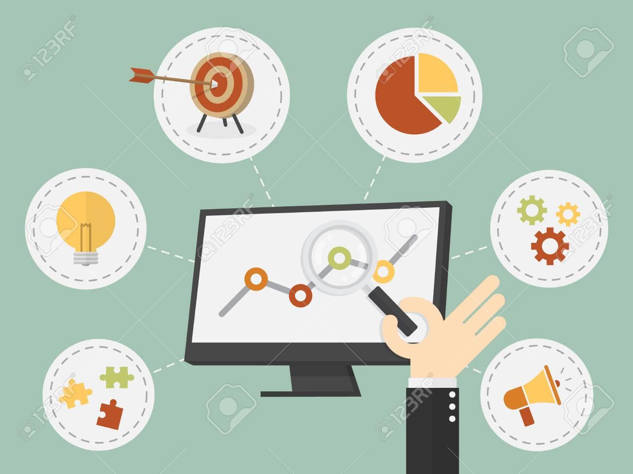 Flat design vector illustration business analysis, SEO - 54429117