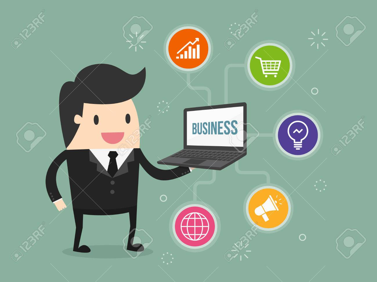 businessman holding laptop with business icon - 54429132