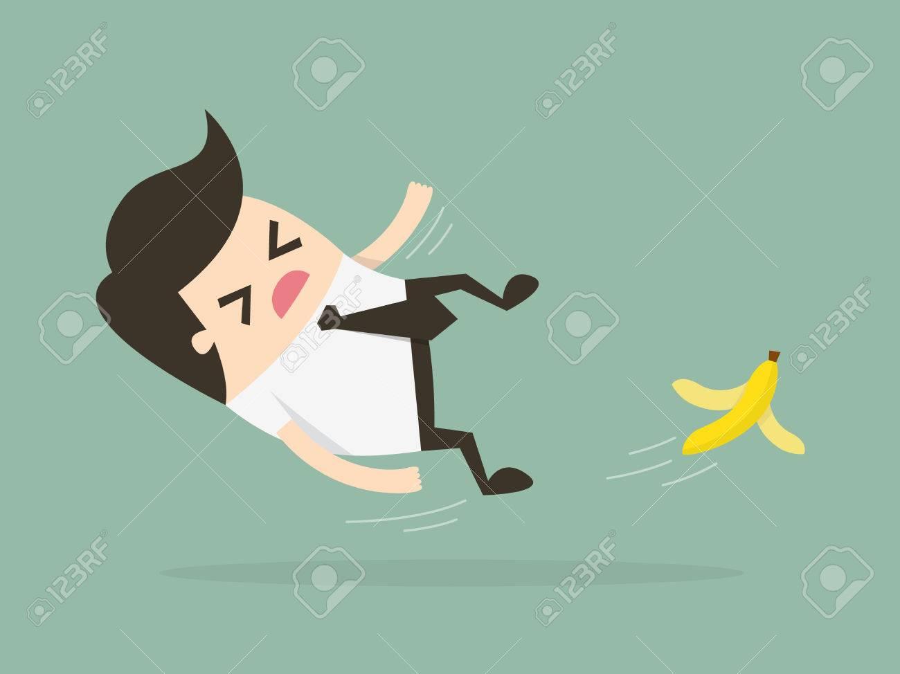 Businessman slipping on a banana peel. Business concept illustration. - 54429689