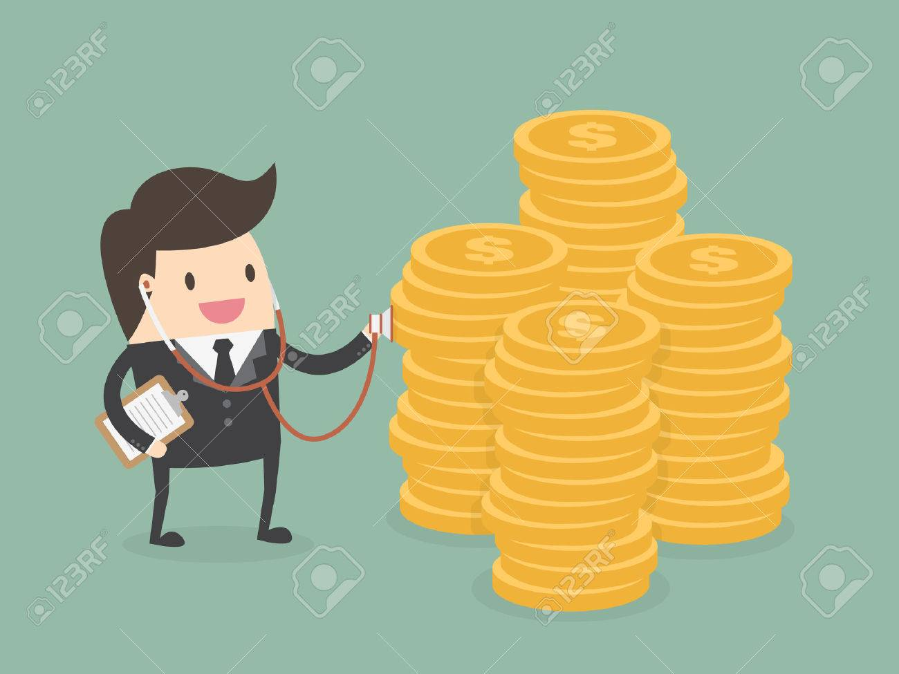 Financial health check. Businessman using stethoscope to check money health - 54429690