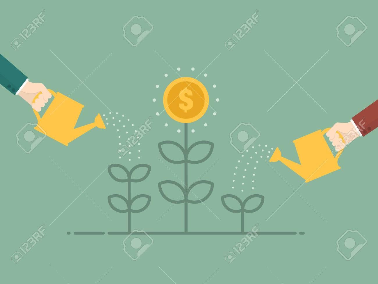 Money Growth. Flat design illustration. Business person watering money tree - 54429695