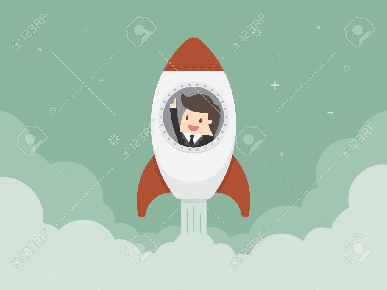 Startup Business. Flat design illustration. Businessman on a rocket - 54429691