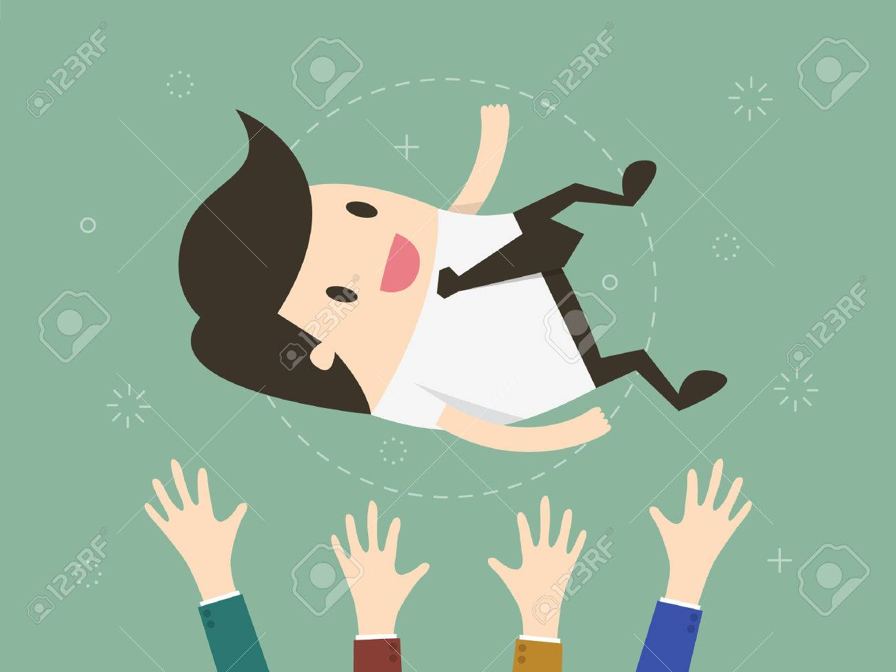 Success. businessman being thrown in the air. Flat design illustration - 54429692