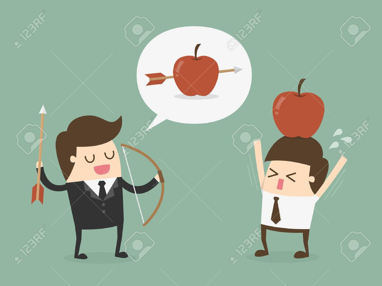 Business target concept. Businessman shooting an apple on top of colleague - 54429699