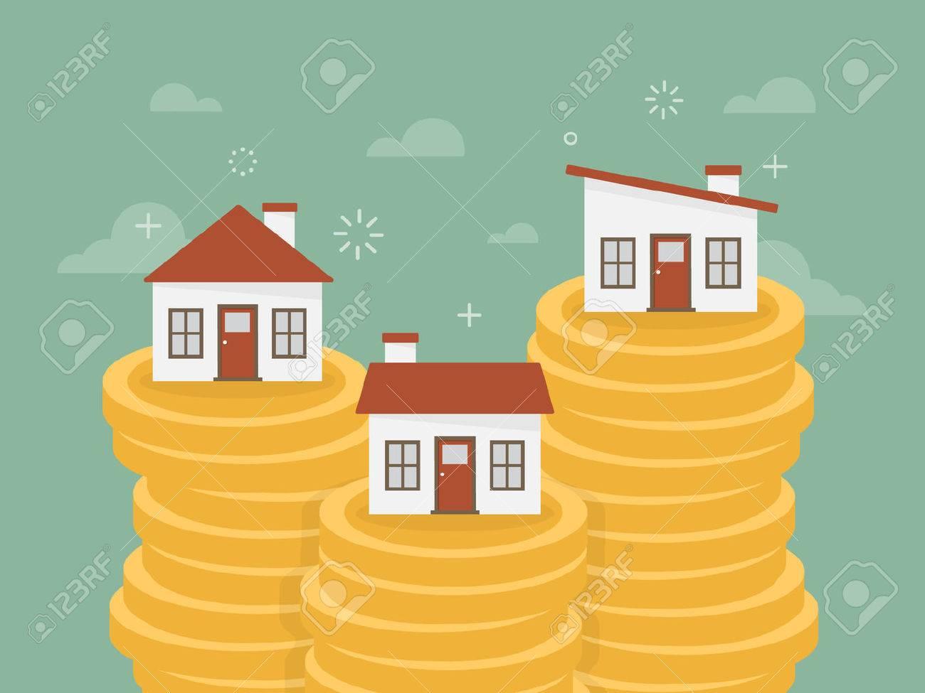 Real estate. House on stack of coins. Flat design business concept illustration. - 54429704