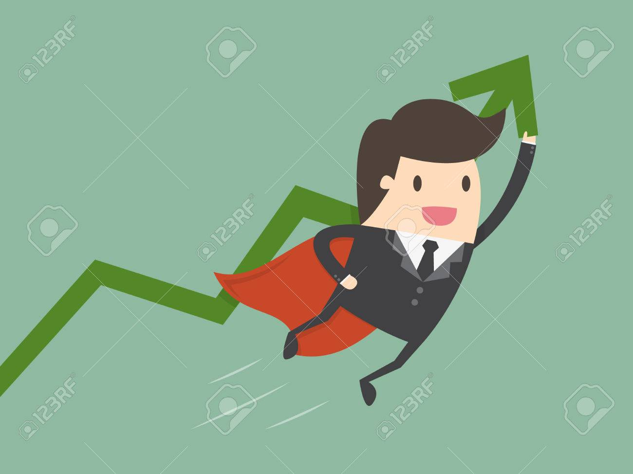 Super businessman with growing graph. Business concept cartoon illustration. - 55512446