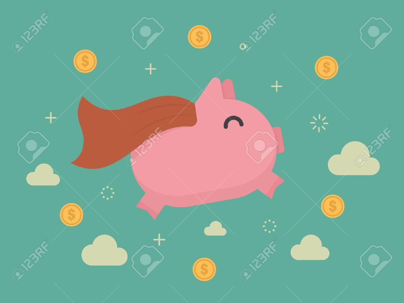 Super piggy bank. Business concept cartoon illustration - 55512458