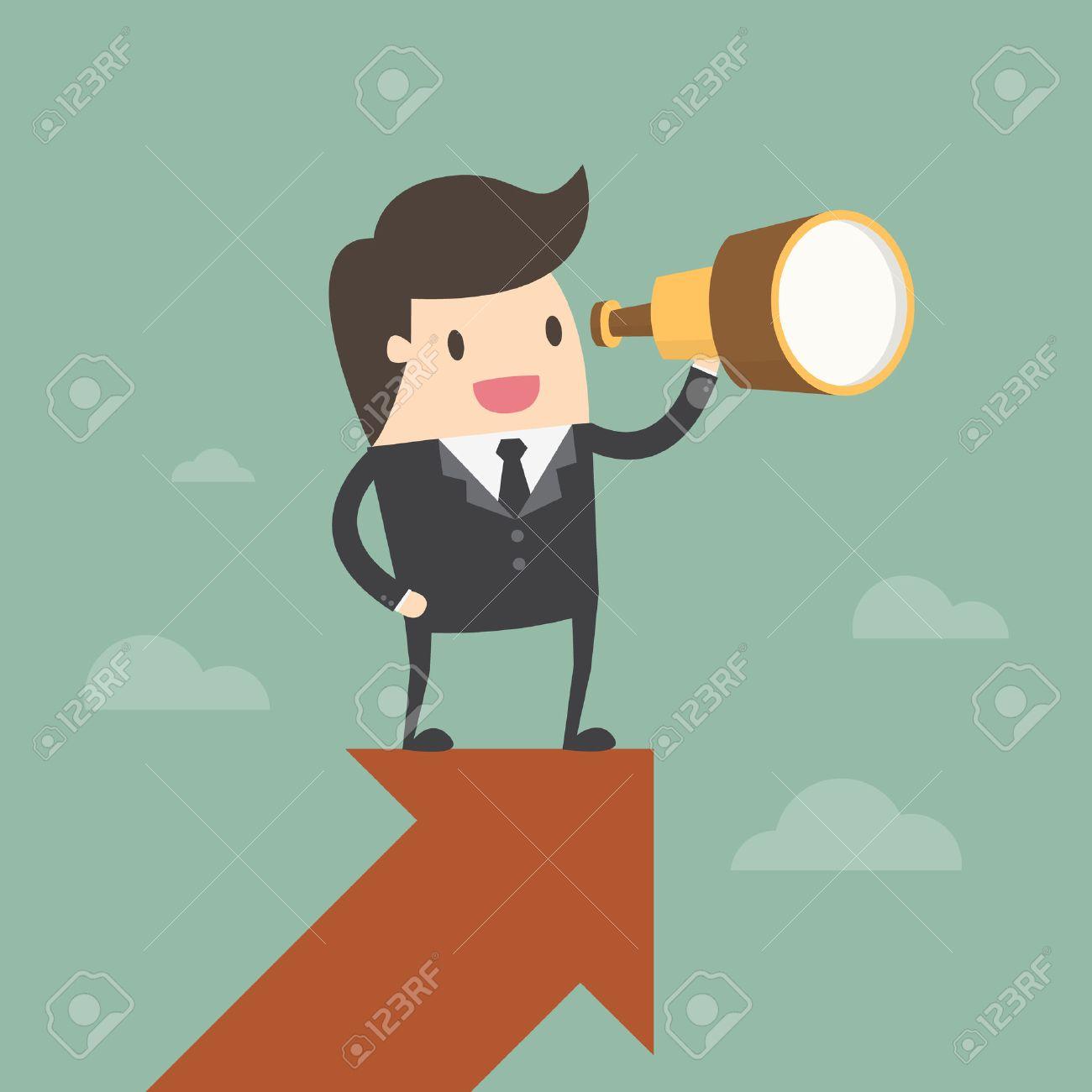 Vision and Growth concept. Businessman looks through a telescope on growth arrow. Business concept cartoon illustration - 55516358