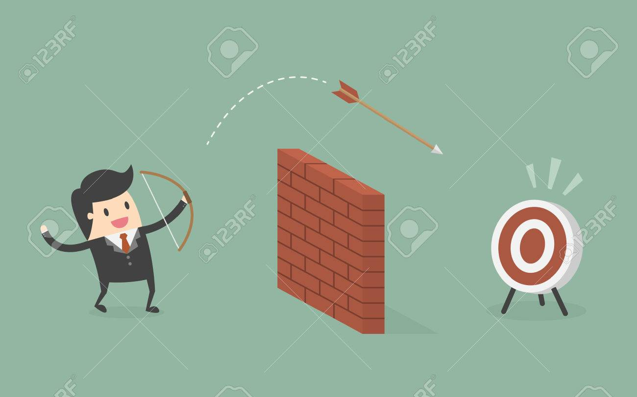 Businessman Shoot Arrow Over The Wall To The Target. Business Concept Cartoon Illustration. - 55498166