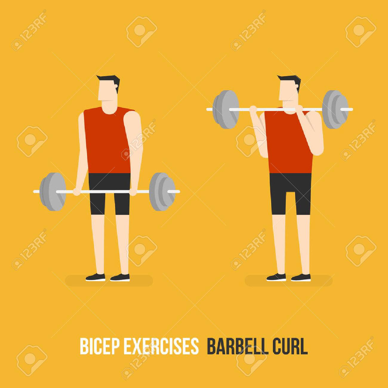 Bicep Exercises. Barbell Curl. Flat Design Bodybuilder Character Lifting Barbell. - 60107864
