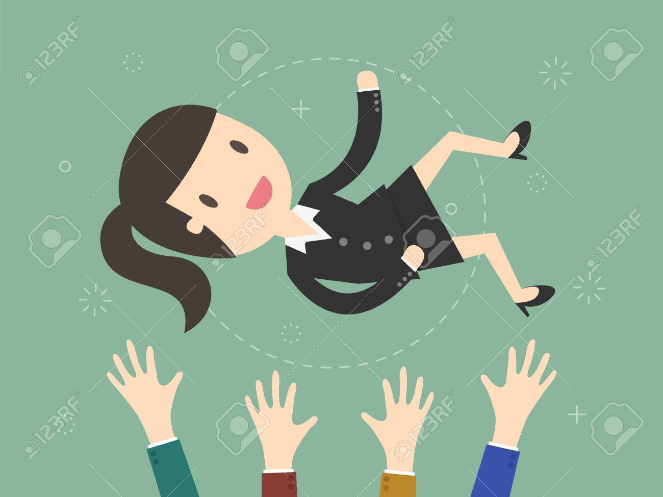 Success. businesswoman being thrown in the air. Flat design illustration - 66566643