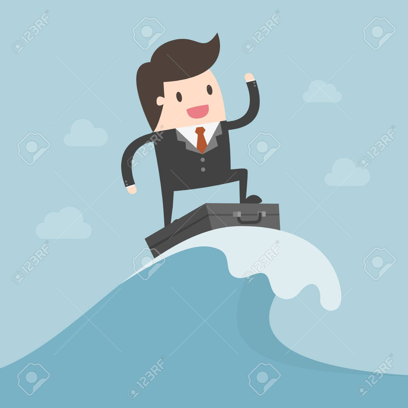 Businessman Surfing On The Wave. Business Concept Illustration. - 82990973