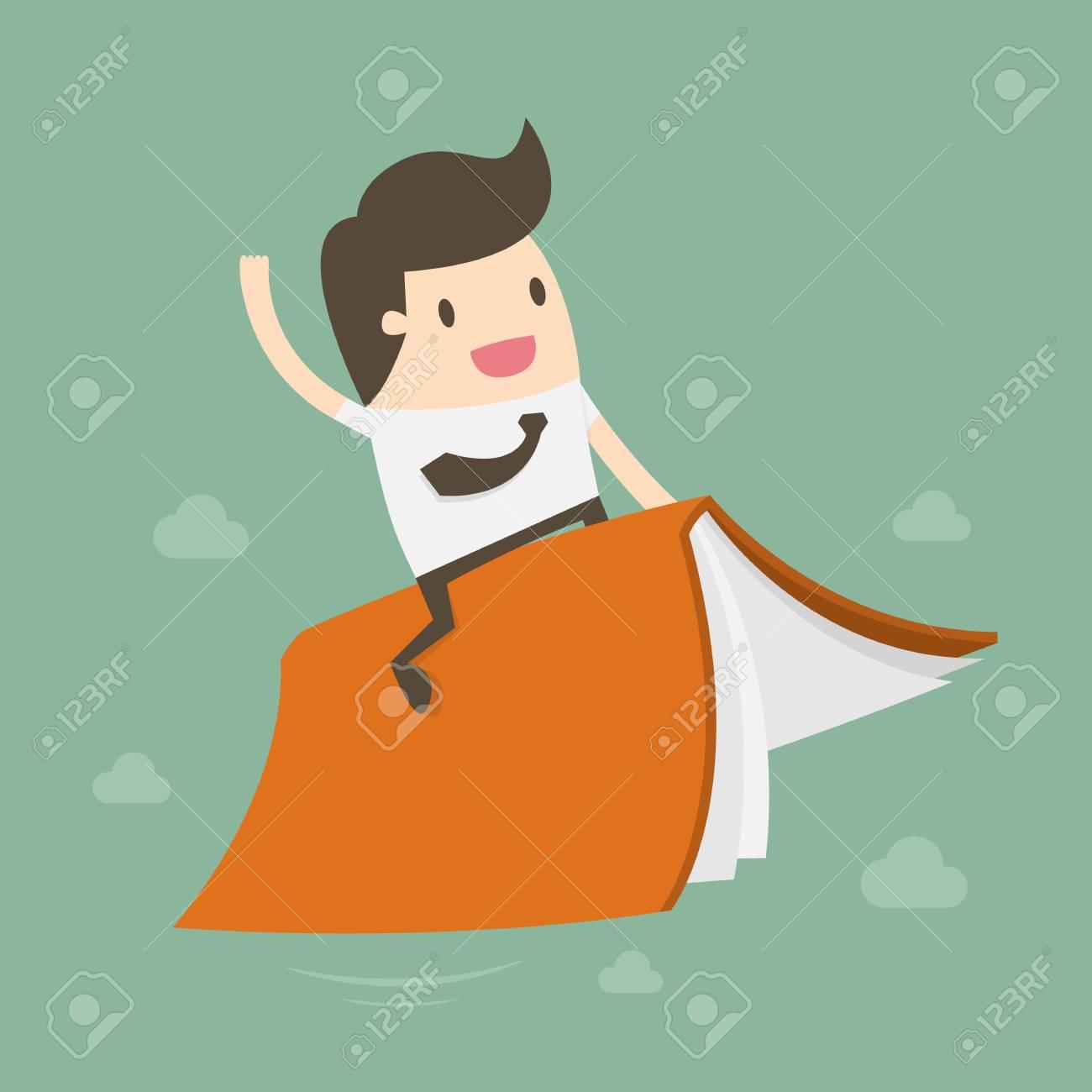 Businessman Riding Flying Book, flat cartoon design - 96402096