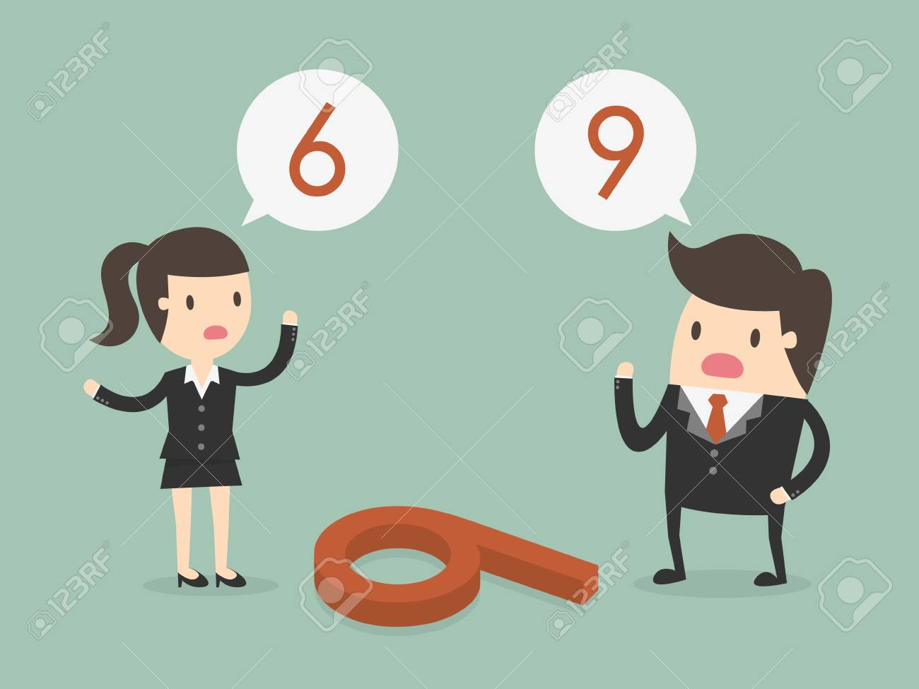 Businessman and woman thinking differently of the number on the floor if 6 or 9 - 96723943