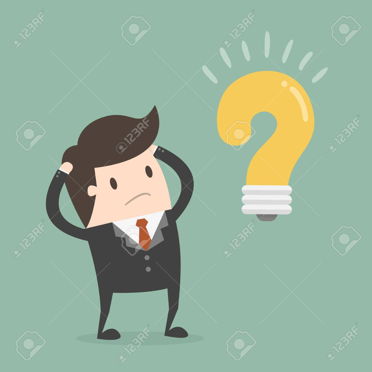 Businessman thinking of a solution to a problem - 96747615