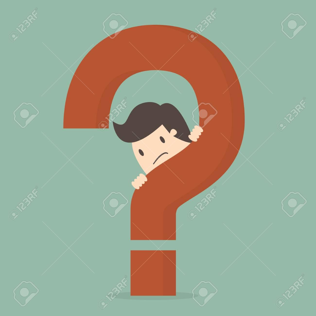 Businessman behind a question mark illustration - 96747648