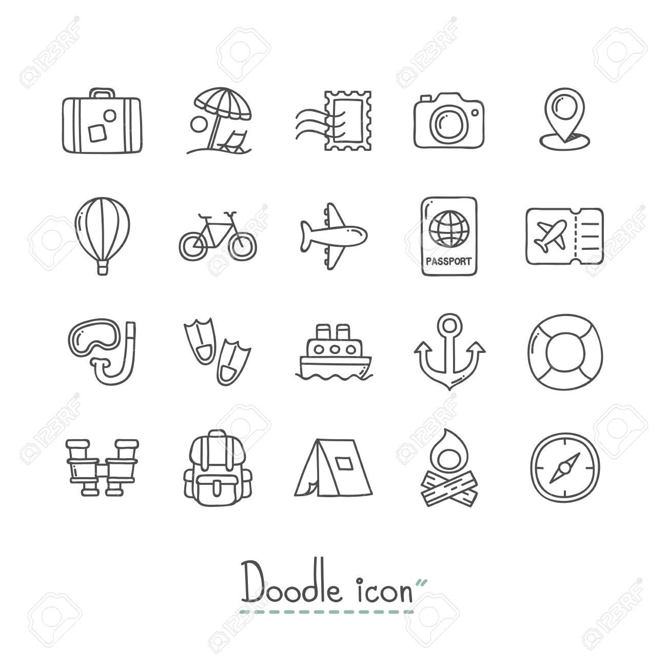 Hand Drawn travel Doodle Icon Set. - 96597111