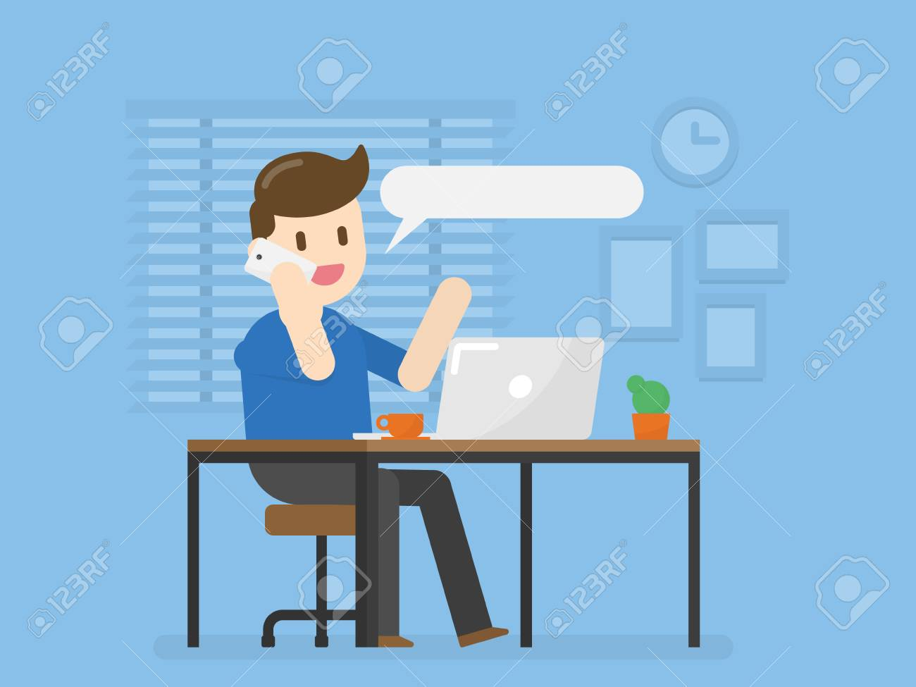 Young Man In Home Office Talking On Phone. Vector Illustration Concept Of People Lifestyle. - 118382431