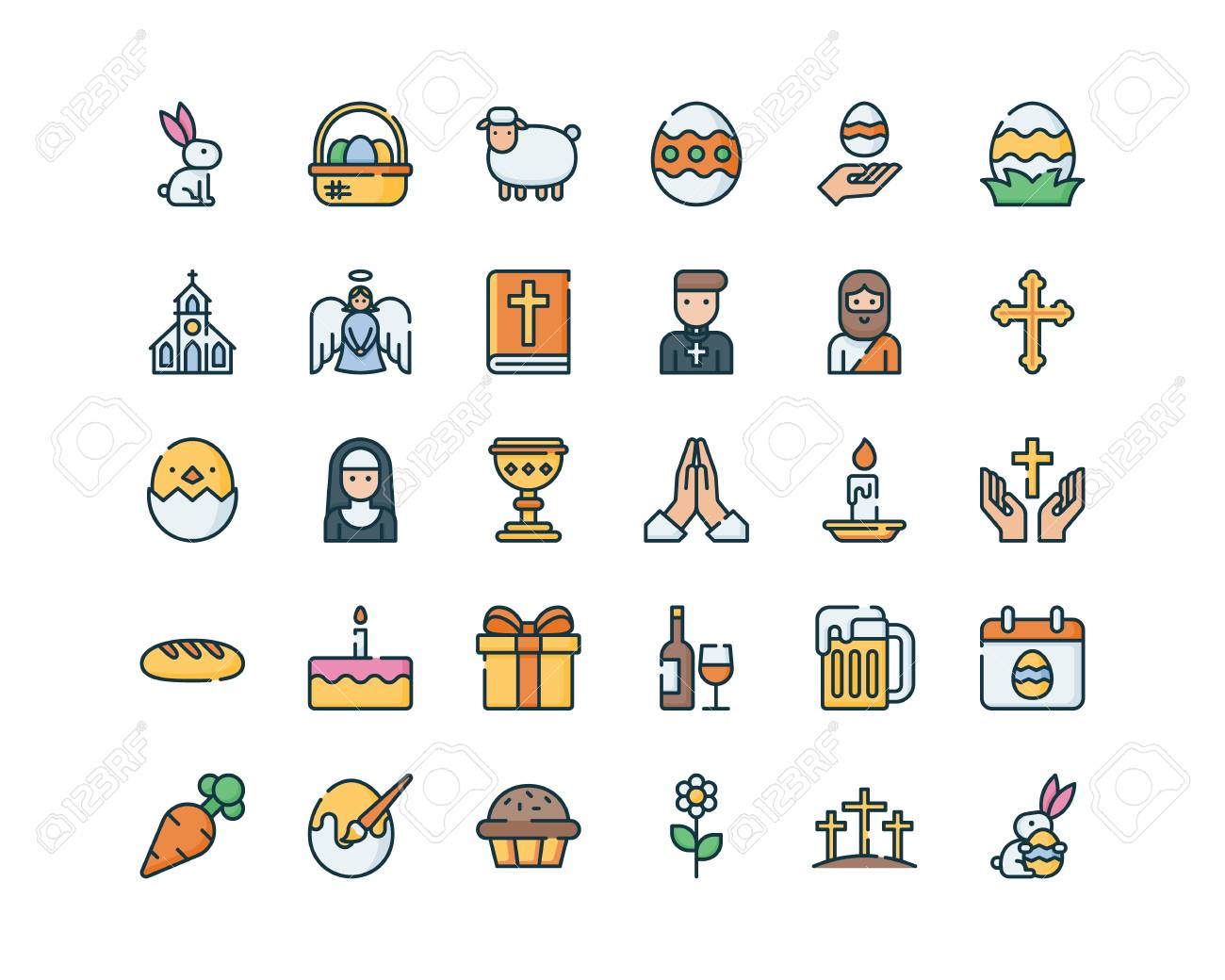 Easter symbols collection. - 121251647