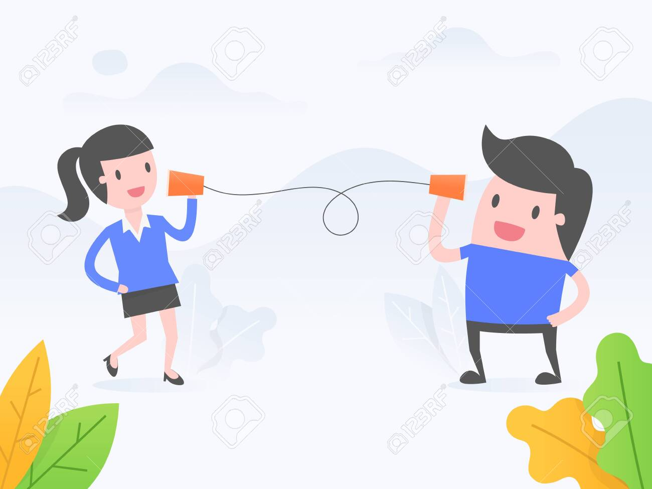 Vector illustration concept of communication. business people talking with paper cup phone. - 123969420